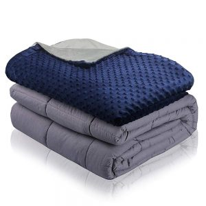 navy mink dot weighted blanket